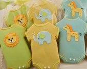Onesie Sugar Cookie Favors - Adorable Animal Designs (24 favors, gift bagged and bowed)