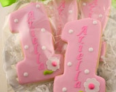 Number One Birthday Cookies, Personalized - 12 Decorated Sugar Cookie Favors