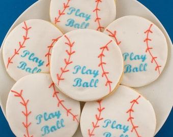 Baseball Sugar Cookies - (12 Favors, bagged and bowed)