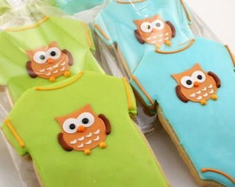 Owl Onesie Cookie Favors - 12 Decorated Sugar Cookies