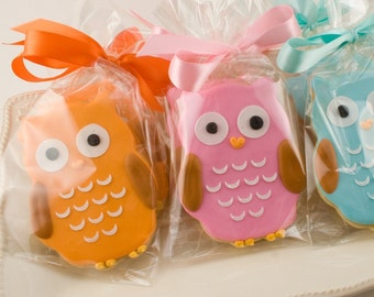 Owl Cookies - 20 Decorated Sugar Cookie Favors