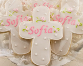 Personalized Rosebud Cross Cookies for Baptism, Communion - 12 Decorated Sugar Cookie Favors