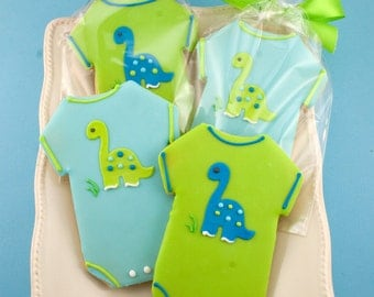 Dinosaur Onesie Cookies - 12 Decorated Sugar Cookie Favors