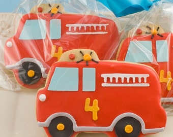 Fire Engine / Fire Truck Cookies - 12 Decorated Sugar Cookie Favors