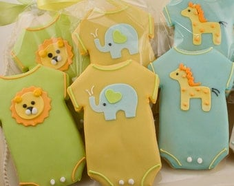 Animal Baby Shower Cookies (Elephant, Giraffe, Lion) - 24 Decorated Sugar Cookie Favors