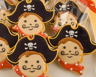 Pirate Cookies - 12 Decorated Sugar Cookie Favors