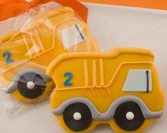 Dump Truck Cookies, Construction Party - 12 Decorated Sugar Cookie Favors