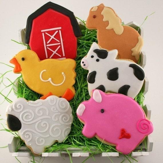 Farm Animal Cookies (24 favor, bagged & bowed) - Choose Any Design(s)