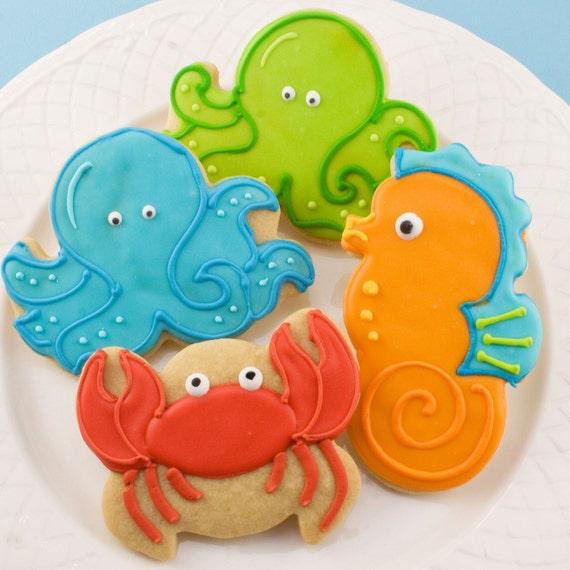 Sea Animal Sugar Cookies (12 favors, bagged and bowed)