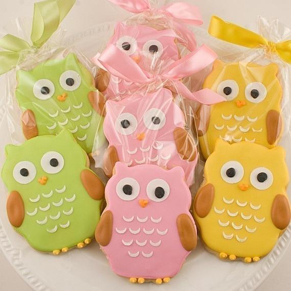 Owl Cookie Favors - 2 Dozen Decorated Sugar Cookies