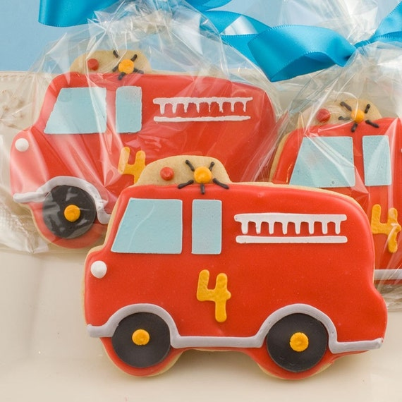 Hurry to the Fire with these Fire Engine Favors (12 favors, individually bagged and bowed)