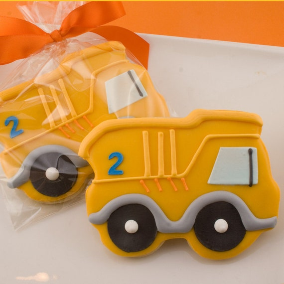 Dump Truck Cookies (12 numbered favors, bagged & bowed)