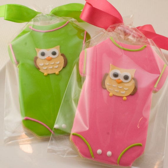 Onesie Sugar Cookie Favors - Adorable Owl Design (24 favors, gift bagged and bowed)