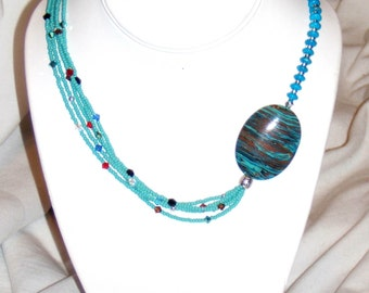 FREE SHIPPING---Rainbow Calsilica and Turquoise Necklace