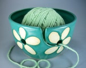 Yarn Bowl, VOGUE KNITTING MAGAZINE, 2011 Spring/Summer Issue, in Turquoise and  White, Hand Made Stoneware Pottery, In Stock
