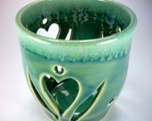 SALE, Luminary or Candle Holder, Hearts and Leaves, Green and Chartreuse, Home Decor, Mother's Day Gift, Stoneware Pottery