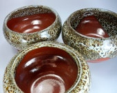 SALE, Serving Bowl, Dipping, Baking or Home Decor,  Orange Red and White Polka Dot Glaze, Stoneware Pottery