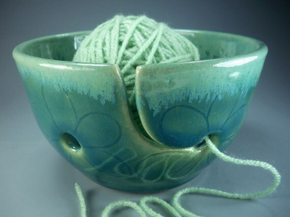 Sweet on Mom Flower Yarn Bowl in Green and Chartreuse,  Hand Made Stoneware Pottery