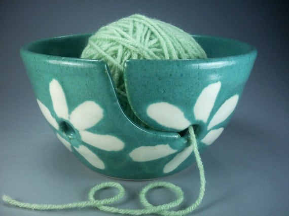 Sweet Flower Yarn Bowl in Turquoise, White and Red, Hand Made Stoneware Pottery