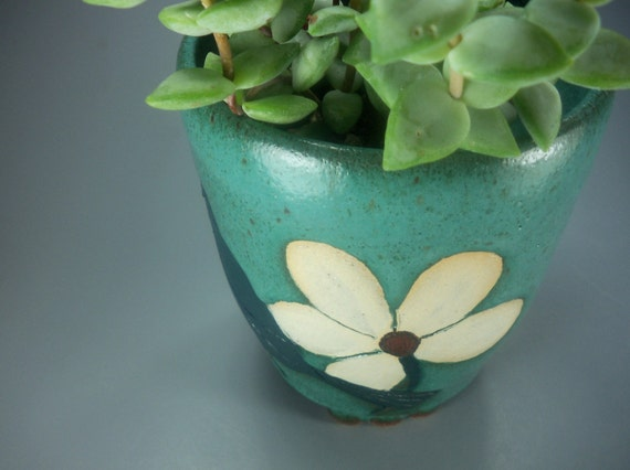 Birdie in the Flower Garden, Tall Footed Planter, Handmade Stoneware Pottery, IN STOCK