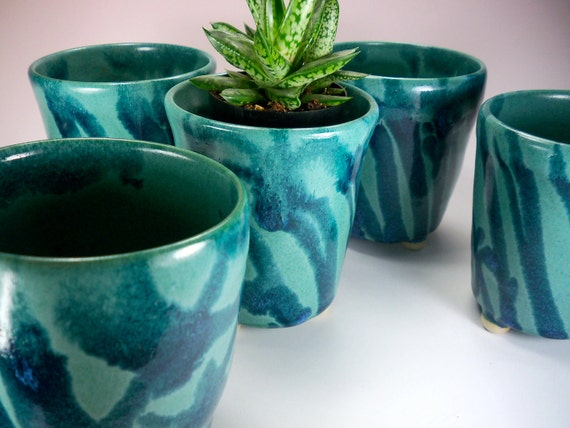 Ceramic Planter,  Tall Flower Pot,  Turquoise and Denim Blue, Stoneware Pottery