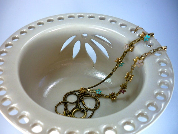 White Jewelry Bowl,  Earring Holder, Elegant Flower Cut Outs, Handmade Stoneware Pottery, In Stock