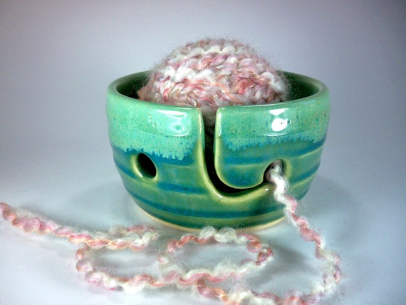 Knitting Bowl, Yarn Bowl, Portable Mini,  Green and Chartreuse, Handmade Ceramic Pottery