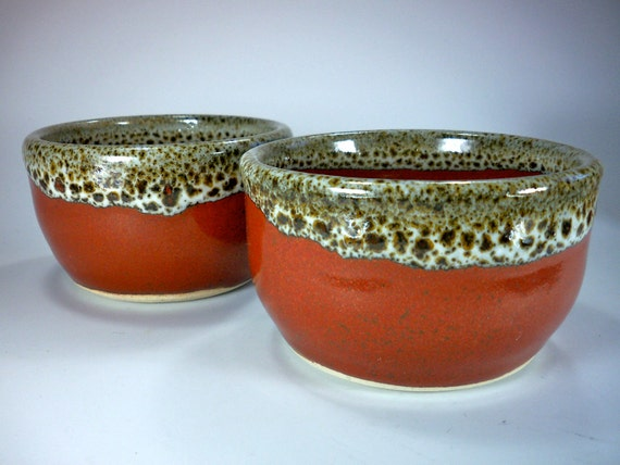 Cereal Bowls, Set of 2,  Orange Red and White Polka Dot Glaze, Stoneware Pottery