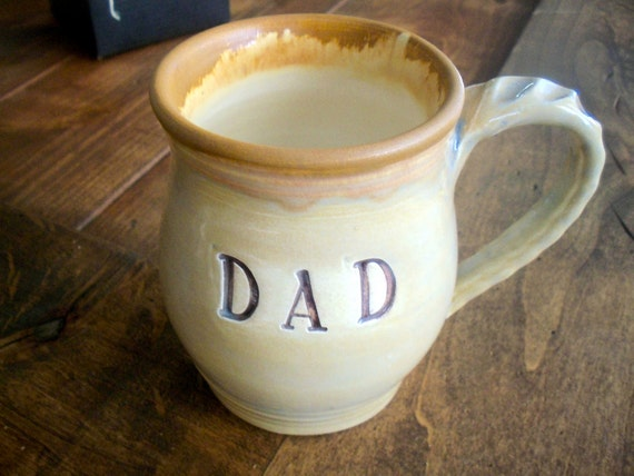 DAD Mug, Coffee Cup, Chocolate Brown and Oyster Grey, Hand Made Earthenware Pottery, Ready to Ship