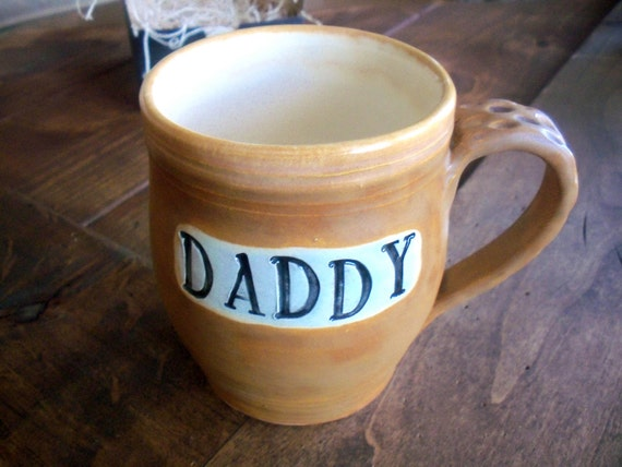 Large DADDY Mug, Coffee Cup, Warm Earth Tones, Hand Made Earthenware Pottery, Ready to Ship