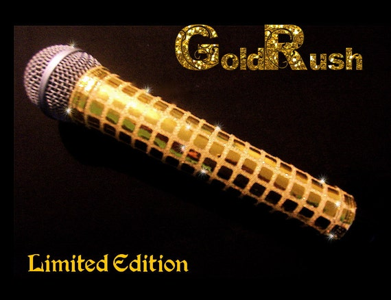 MICROPHONE COVER (Gold Rush) Metallic Gold Mic Cover for Cordless Mic