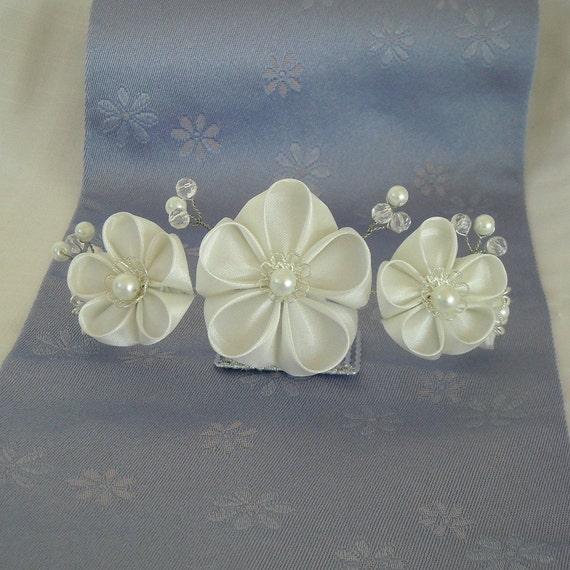 White Bridal Flower Kanzashi Tiara