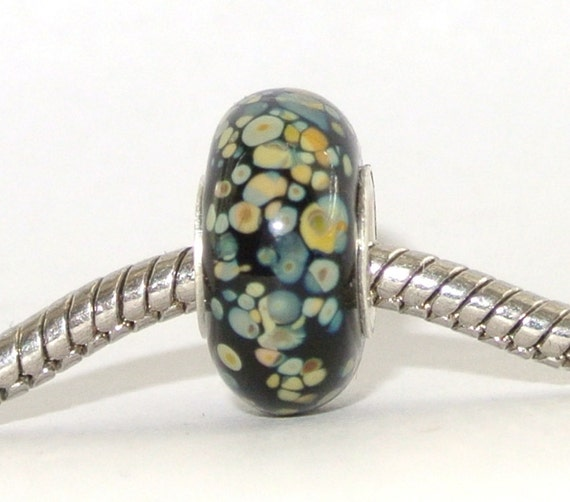Big Hole Lampwork Glass Bead fits Troll, Biagi and ALL other European Charm Bracelets - Mosaic