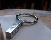 Four Sided Hand Stamped Personalized Rectangular Bar Key Chain