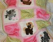 "Personalized Baby Blanket  Appliqued  Minky ""Sweet , Sweet Ponies"""