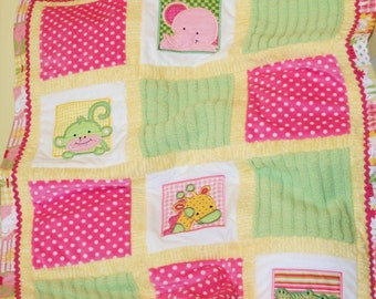"Jungle Minky Appliqued Baby Blanket   ""Too , Too Cute  Jungle"""