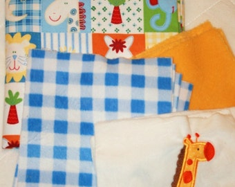 """Quilt baby blanket kit """"It's a jungle out there"""""""