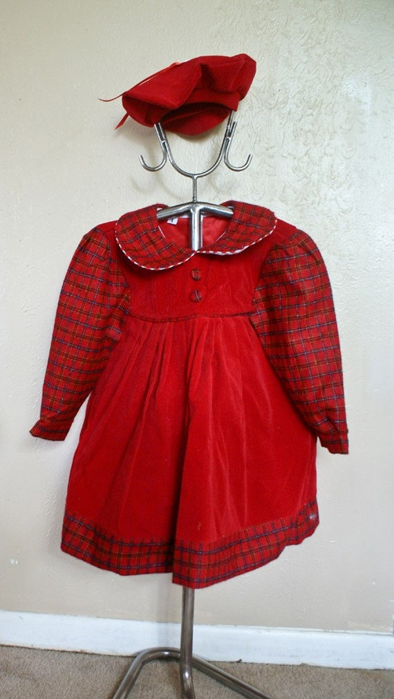 Red Fall dress, size 3T -- on sale