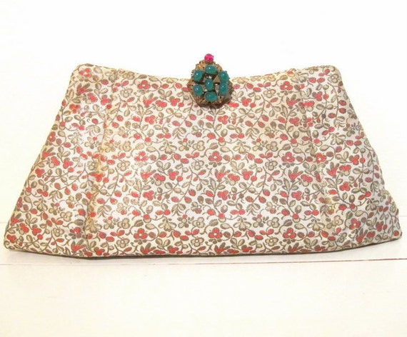 Exceptional 1940s Brocade Clutch with Jeweled Clasp and Matching Change Purse, Compact, Card Case and Comb