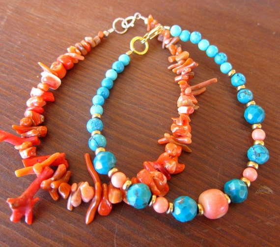 Turquoise and Coral Bracelets - Set of 2 All Natural Stones