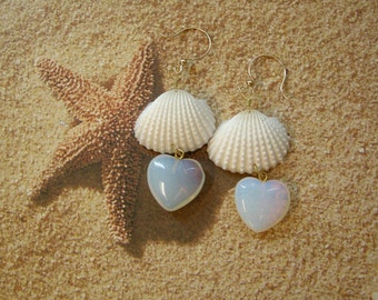 Seashell Heart Earrings - Queen of Hearts - Seashell Opalite Heart Earrings