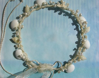 Sea Goddess - Custom Bespoke Seashell and Pearl Wedding Hair Wreath