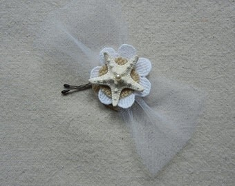 Starfish Bobby Pin - Burlap and Lace Star Flower