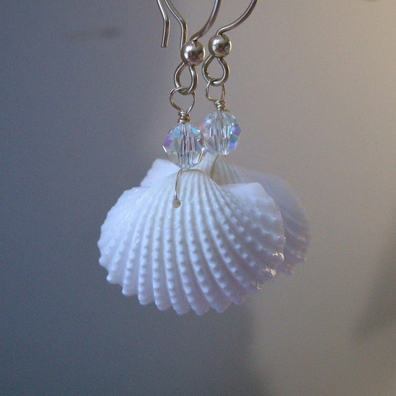 Mermaid Earrings Seashell and Crystal Earrings