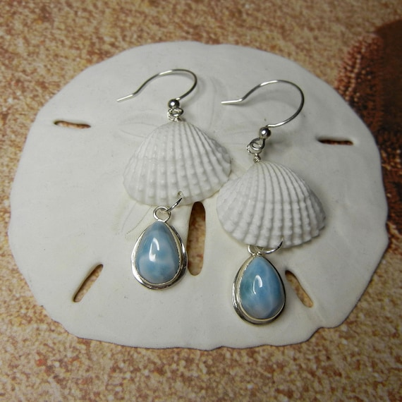 Seashell and Larimar Drop Earrings for Mermaids