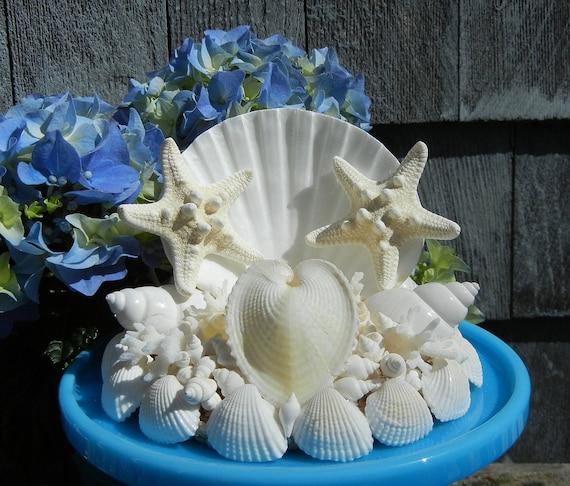 Two Stars and One Heart - Seashell Starfish Wedding Cake Topper