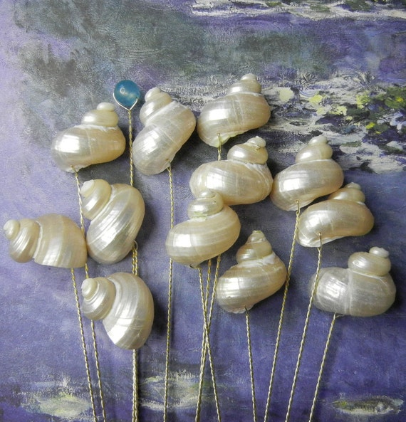 12 Seashell Stems -  Pearly Swirls - Polished Ivory Turbo Seashell Stems for Wedding Bouquet Bridal Bouquet or Centerpieces
