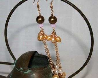 14K Gold earring with Swarovski pearls