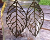 Antique Brass Plated Filigree Leaf Earrings(Ready To Ship)