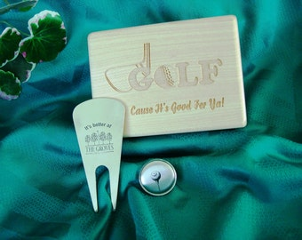 Golf, Accessory Box,Divot Tool,Ball Marker,Premium Woods, Personalized Engraving